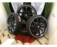 BRAND NEW 30 INCH FORGIATO CONCAVO 3-PIECE RIMS WITH LEXANI TIRES